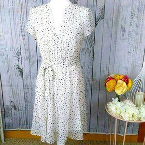 JBS Polka Dot Capsleeve Midi Dress Size 10